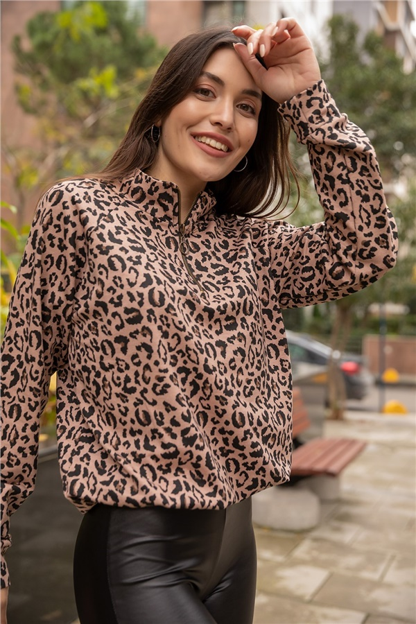 Leopar Desen Fermuarlı Sweat - VİZON